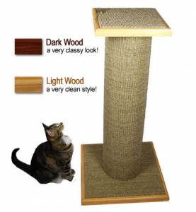 Purrfect Post Mondo cat scratching post in light wood trim