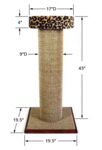 Purrfect Post Mondo Scratching Post with Leopard color carpet covered bed