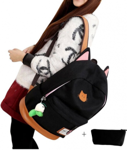 back to school backpacks. The moolecole leather and canvas backpack with cute cat ears