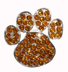 rhinestone crystal cat paw pin