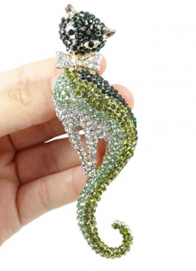 ever faith gold tone and green crystal cat pin