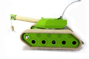ludipuss cat tank side view. A fun activity centre for cats built like a tank