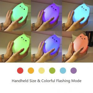 cat night light showing seven color modes
