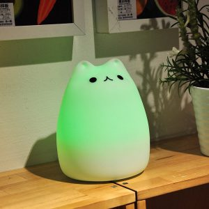 cat night light in green color LED