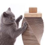 Charley and Billie contemporary cat scratching post. Handmade from ethically sourced sandstone and sustainable oak and recycled cardboard.