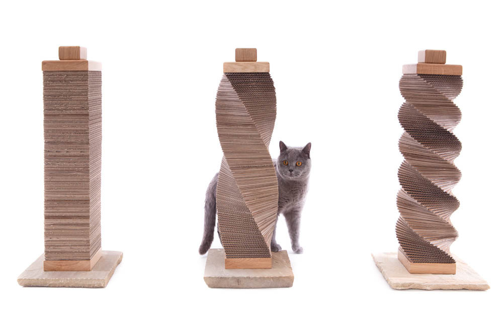 charley and billie contemporary cat scratching post. Handmade from ethically sourced sandstone with sustainable oak and recycled cardboard