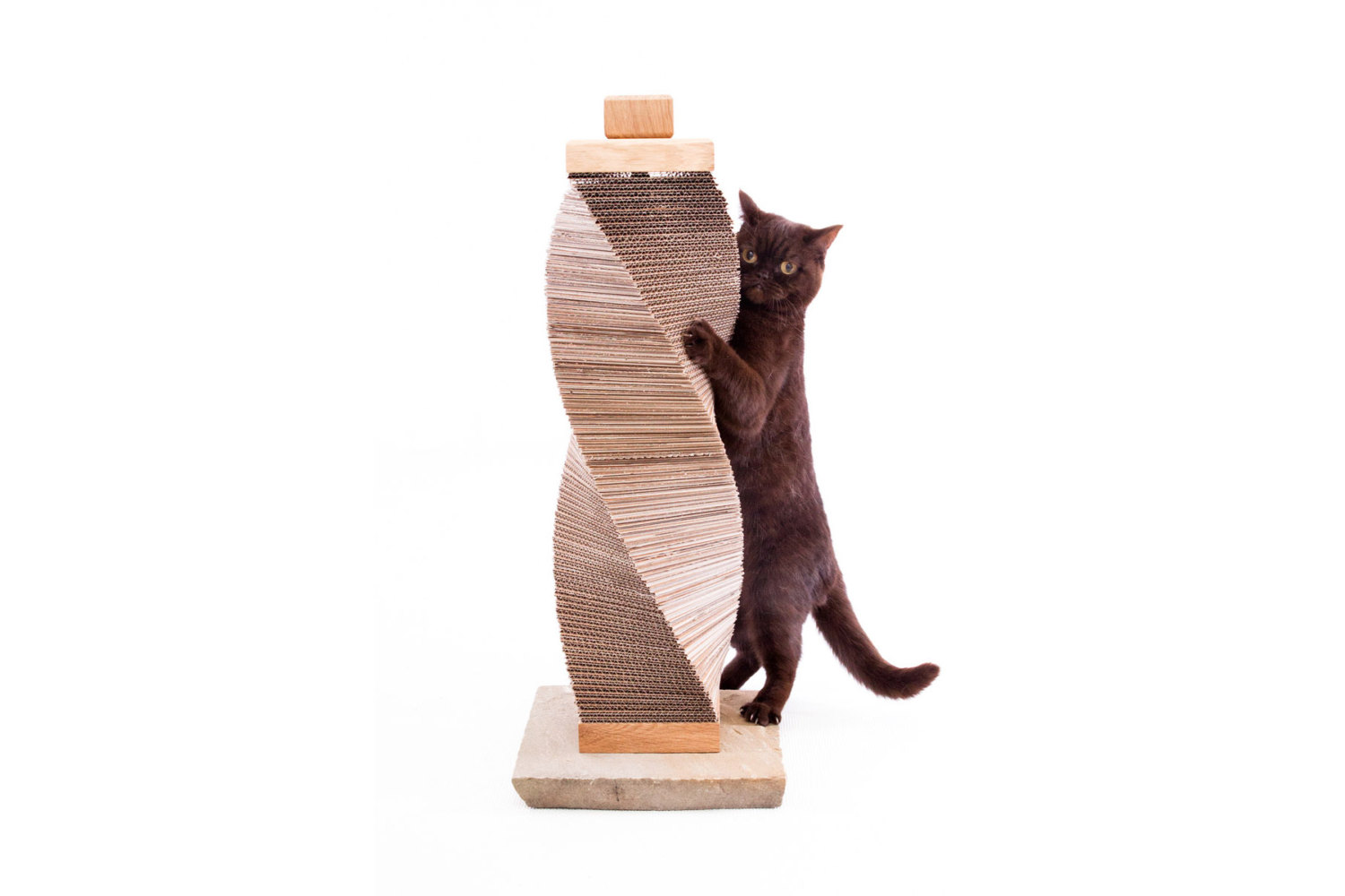 Charley and Billie Contemporary cat scratching post made from ethically sourced stone, sustainable oak and recycled cardboard