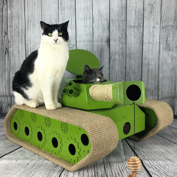 Ludipuss Cat Tank. A seriously cool cat activity center in the shape of a handmade tank