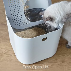 modkat Modern Cat Litter Box with an easy open lid to help you change the litter