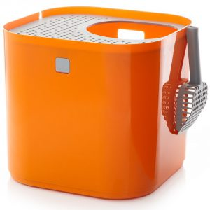 modkat modern cat litter box in stylish orange