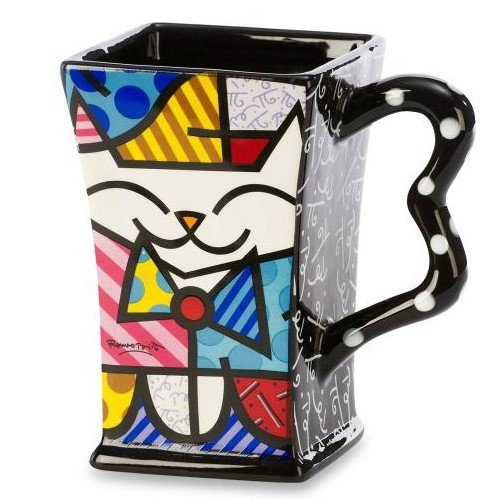 Romero Britto Cute Cat Mug. Renowned pop artist has designed this great mug