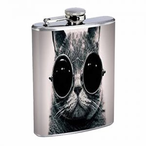 stainless steel hip flask for cat lovers
