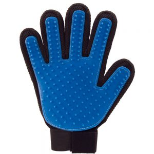 true touch deshedding glove has 180 silicone tips to capture the loose hair