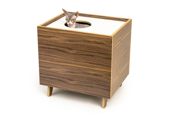 Top entry litter cabinet from modernist cat cool stuff for cats - Modern kitty litter box ...