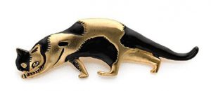 Enameled Marcks black cat brooch