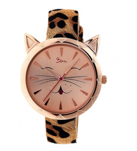 Boum Miaou Cat Face Watch in rose gold