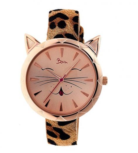 Boum Miaou Cat Face Watch in rose gold