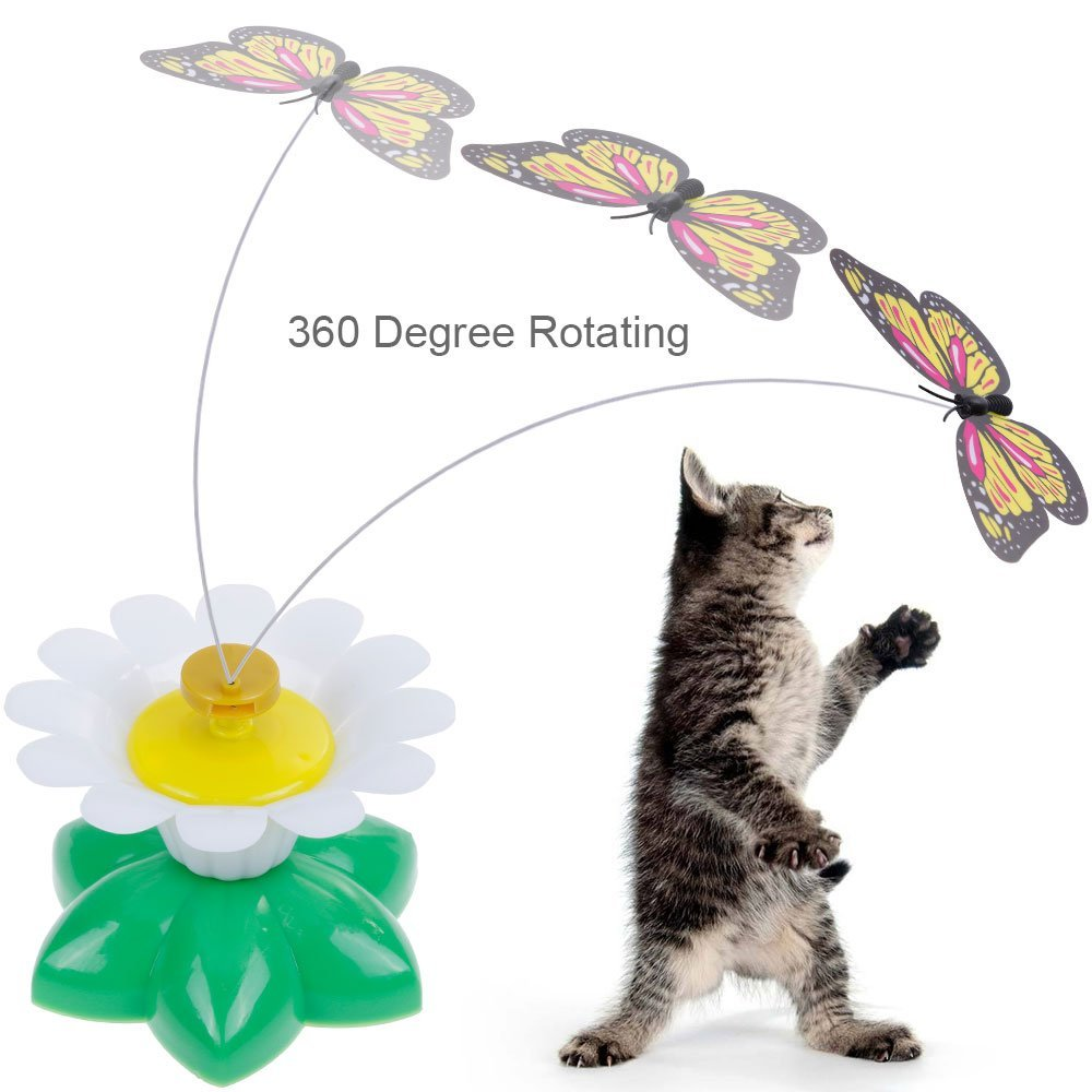 lictin butterfly rotating cat toy