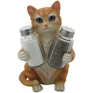 orange kitty cat salt and pepper shaker set