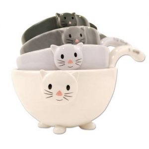 cat ceramic measuring bowls