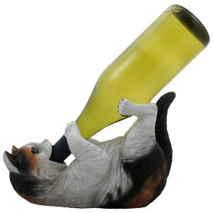 Calico drinking kitty wine bottle holder
