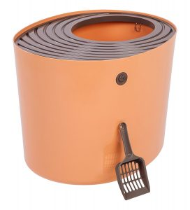 iris top entry litter box in orange