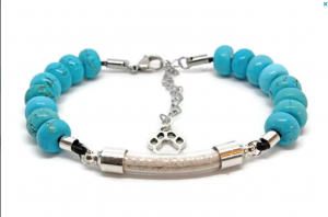 sea ranch jewelry cremains pet memorial bracelet with turquoise gemstones
