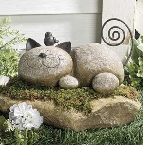 resting cat stone garden ornament